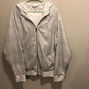 Nike windbreaker hoodie zig zag zebra print white